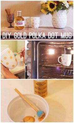 Kate Spade DIY look alike polka dot mugs - how to paint a mug with gold polka dots, cute easy project...hmm