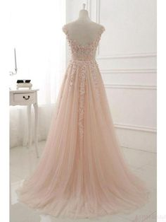Pink round neck lace applique tulle long prom dress, tulle evening dress, Customized service and Rush order are available