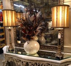"Pair of Mirrored Lamps With Silk Shades   Glamorous  31"" High   $245 Pair   Grace Designs Booth #333  City View Antique Mall  6830 Walling Lane Dallas, TX 75231  Like us on Facebook: ht"