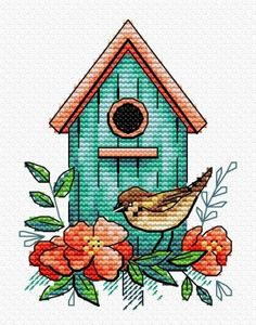 Sparrow House Cross Stitch Kit, You can produce really specific designs for materials with cross stitch. Cross stitch models may almost amaze you. Cross stitch newcomers can make the models they want without difficulty. Cross Stitch Cards, Simple Cross Stitch, Cross Stitch Animals, Counted Cross Stitch Patterns, Cross Stitch Designs, Cross Stitching, Cross Stitch Embroidery, Embroidery Patterns, Hand Embroidery