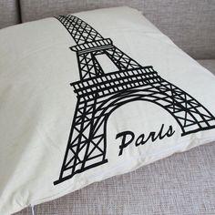 """Paris Eiffel Tower Simple Design Cotton Linen Pillow Case Cushion Cover 17""""  Play room"""