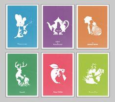 Retro disney movies  Alternative poster Set  6 Posters incluidos:  - Pinoccio - Alice in wonderland - The jungle book - Bambi - Snow White -