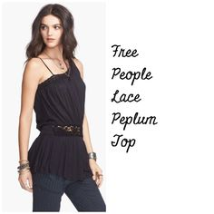 Free People Lace Peplum Tank Free People lace peplum top NWT 'Summer Haze' Black color PayPal, Trades  Free People Tops Tank Tops