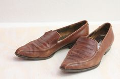 Vintage Italian Rustic Leather Loafers Sz 5.5 by claudedonohoshop