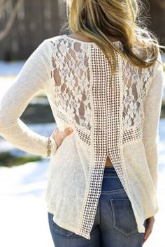 Love Love LOVE the Lace Back! White Lace Spliced White Long Sleeve Knitwear Long Sleeve Top #White #Lace #Long #Sleeve #Top #Fashion