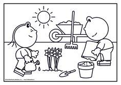 Frokkie en Lola in de tuin Spring Theme, Plantation, Kindergarten, Teaching, School, Fictional Characters, Gardens, Garden Centre, Drawings