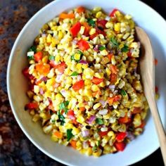Grilled Sweet Corn Salsa. Top a fillet of Tilapia or Cod with this delicious salad and you have yourself a simple healthy dinner the whole family will love!