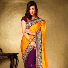 #Orange Satin and Faux Georgette #Saree