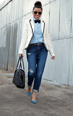 HerStyles1 - Women's Fashion Blog - Girls In Bow Ties In this fashion, we're obsessed...