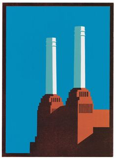 "Paul Catherall's ""Battersea Blue"" limited edition linocut print. Similar work available from St. Jude's Modern British and our online print store."