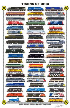 Trains of Ohio: Hand drawn locomotives of Ohio, past and present by Andy Fletcher