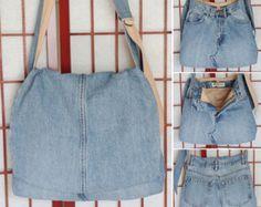 Denim Messenger Bag, Jeans Bag, Upcycled Jeans, Recycled Denim Purse, Handmade Bag, Denim Cross body Bag, Recycled Denim, Adjustable Strap