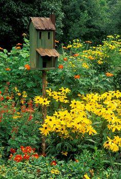 Orange and yellow sunflowers. Love the rustic birdhouse.