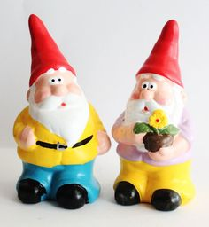 Vintage Silly Looking Garden Gnome Porcelain Figure set of 2 on etsy from salvagehunter