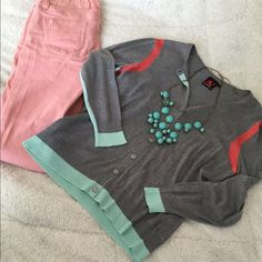 Beautiful Lightweight Spring Cardi Timeless piece with hints of mint and coral!! Pairs beautifully with white skinnies or like me - pink!! Super soft and no signs of wear! Adrienne Vittadini Sweaters