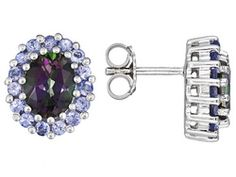 5.00ctw Oval Mystic Topaz(Tm) And .90ctw Round Tanzanite Sterling Silver Earrings