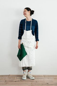 WHITE DENIM APRON (Long)