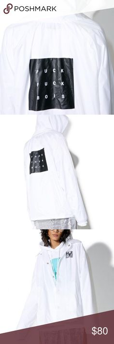 """F*ck Bois Coach Jacket F boys, eff boys coach jacketHLZBLZ Whiteout F*ck Bois Coaches Jacket featuring a white nylon shell exterior, classic relaxed fit, with a snap button closure, logo front, and block graphic on the back that reads """"F*ck F*ck BOIS.""""  Materials: Nylon Machine Washable Our Doll wears M and is 5'9 Jackets & Coats"""