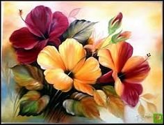 pintura em tela flores - Pesquisa Google Fabric Painting, Painting & Drawing, Watercolor Paintings, Arte Floral, China Painting, Pictures To Paint, Vintage Flowers, Watercolor Flowers, Painting Inspiration