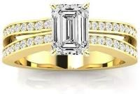 2.4 Ctw 14K Yellow Gold GIA Certified Emerald Cut Contemporary Double Row Split Shank Engagement Ring