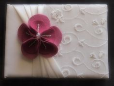 Guest Book Pen and Stand Set Wedding White Silver 70 flower colors available by ArtisanFeltStudio, $51.00