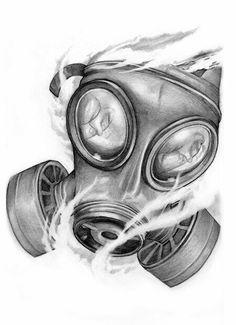 Gas mask tattoo design …