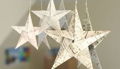 5 pointed origami star Christmas ornaments - step by step instructions. Also all kinds of cool ornaments on the page. Love the Paper Star Lantern, Book Crafts, Christmas Projects, Holiday Crafts, All Things Christmas, Winter Christmas, Christmas Holidays, Decoracion Navidad Diy, Diy Adornos, Christmas Star Decorations
