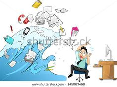 Tidal wave tsunami of workload with office tools in the office attacking a salary male clerk or businessman - man version (cartoon vector with funny concept)
