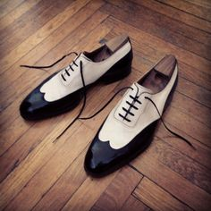 http://chicerman.com  dandypunkshoes:  What Mozart is to music. What Einstein is to physics. Saint Cripins are to the art of shoe making. The pair of bi-colour longwing Wedding oxfords above is but a small example.  #menshoes