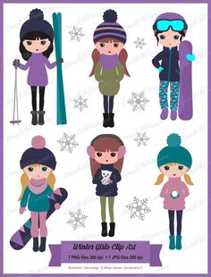 Digital Download Clipart ? Variety of 7 Winter Girls Clipart #2 JPEG and PNG files