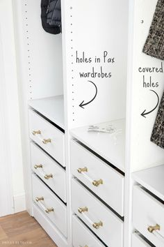 Using IKEA VARIERA cover plates to fill holes in PAX frames We designed and installed a new coat closet using IKEA PAX wardrobes and LOVE how it turned out! We're sharing all of the details in this post! Ikea Pax Closet, Ikea Pax Wardrobe, Le Closet, Closet Hacks, Closet Storage, Ikea Closet System, Walk In Closet Ikea, Bedroom Storage, Dressing Pax Ikea