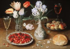 Afbeelding Osias Beert I. - Still life with Lilies, Roses, Tulips, Cherries and Wild Strawberries