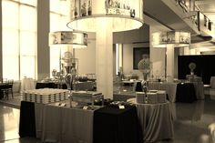 Buffet stations at Emory event Event Design, Buffet, Chandelier, Ceiling Lights, Lighting, Home Decor, Light Fixtures, Buffets, Ceiling Lamps