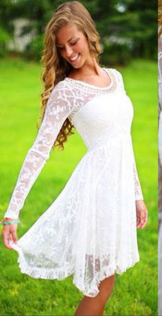 Long Sleeve Wedding Dress, Short Wedding Dress,Short Lace Bridal Dress,Lace Long Sleeve Wedding Dress,Romantic Wedding · Now and Forever · Online Store Powered by Storenvy Trendy Dresses, Cute Dresses, Short Dresses, Short Wedding Dresses, Trendy Wedding, Dresses Dresses, Simple Country Wedding Dresses, Casual Dresses, Wedding Summer