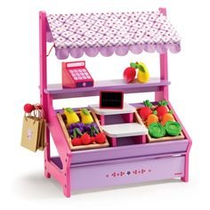 Set up shop and sell a variety of tempting fresh (well, wooden) produce. This painted wooden stall is a dream play set for any budding marketeer looking for fun role play.