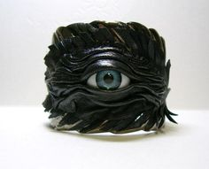 Black leather metal bracelet Leaf Shape. Evil Eye by LeasBoutique