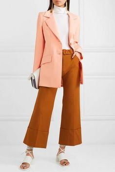 Peach crepe Button fastening at front polyester, wool, Lycra; Hijab Fashion, Fashion Outfits, Casual Outfits, Black Leather Pants, Haute Couture Fashion, Top Designer Brands, Clothes For Sale, Winter Fashion