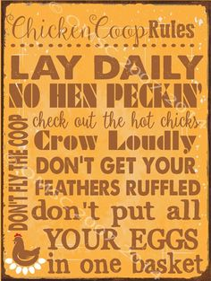Chicken Coop Rules Metal Sign, Humor, Poultry, Farm Decor, Country Decor #HBA #Country