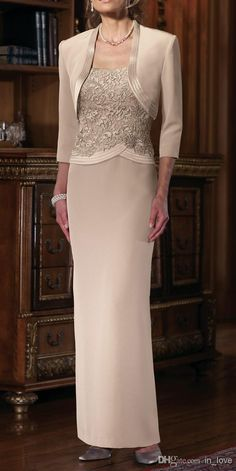 New Arrival Elegant Chiffon Sheath 2017 Mother of the Bride Dresses With Jacket 3/4 Sleeves Hot Selling Appliques Floor Length Wedding