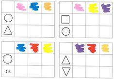 Met deze tabellen met dubbele ingang ga je op ontdekking en maak je verschillende oefeningen rondom kleuren en vormen. Math For Kids, Activities For Kids, Crafts For Kids, Preschool Kindergarten, Teaching Math, Tot School, Math Worksheets, Fine Motor Skills, Teaching English