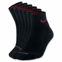 Nike DRI-Fit Half-Cushion Quarter 3-Pack Men's Socks| FinishLine.com | Black/Red