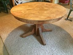 45 round trestle dining table. solid good condition. ready for refinish or as is