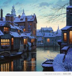 Brugge, Belgium.  Here I shall walk along canal-ed streets, visit some museums, and even see a concert given at a church by a man who's full time job is to be the bell ringer.