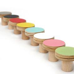Door Knob . Coloured Wooden Knobs