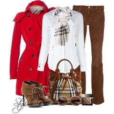 Red jacket with brown corduroy pants and plaid accents