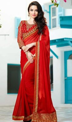 Look like none amongst the crowd dressed in this red chiffon thread work embroidered saree. Beautified with lace and resham work.  #NewShingariPattiEmbroideredSaree