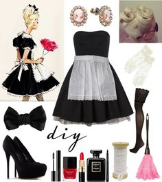 Diy French Maid Costume - Pin On Style French Maid Halloween Costume Diy French Maid Costume Halloween French Maid Halloween Costume French Maid Costume Halloween Diy French Ma. Punny Halloween Costumes, Halloween Kostüm, Diy Halloween Costumes, Halloween Cosplay, Cool Costumes, Costume Ideas, Maid Costumes, Halloween Queen, Adult Costumes