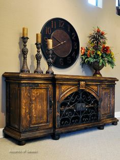 Clock and paint option. Light gray wall and gray flooring. perfect colors to showcase our hand painted furniture at Accents of Salado. Warm gray walls work beautifully with dark wood furniture. Tuscan Furniture, Dark Wood Furniture, Painted Furniture, Warm Grey Walls, Light Grey Walls, Gray Walls, Tuscan Design, Tuscan Style, Tuscan Decorating