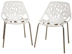 Wholesale Interiors DC-451-White Birch Sapling White Plastic Accent / Dining Chair - Set of 2