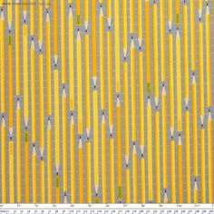 """Design+Basics+Pencils+Yellow+by+Robert+Kaufman+-+Pricing+is+per+meter  Vertical+stripes+made+up+of+yellow+pencils+with+black+tips+on+a+grey+background+with+horizontal,+white+dashed+lines.+Part+of+the+Design+Basics+collection+by+Cynthia+Frenelle.  Main+Colour/s:+Red  Basecloth:+100%+Cotton  Bolt+Width:+110cm+(43"""")  Weight:+Light+-+Quilting+and+Apparel+Weight  Vertical+Repeat:+31cm+(12-1/4"""")  Repeat+Type:+Basic+Tile  While+we+make+every+effort+to+represent+colour+accurately,+every+monitor+is"""